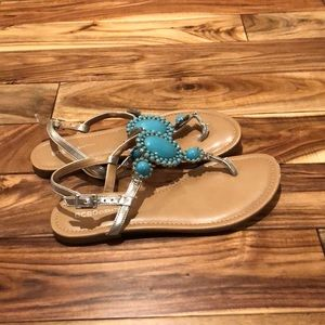 Turquoise and Silver Sandals, Size 7.5